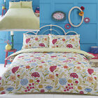 Irvine Designer Funky Flowers Reversible Duvet Quilt Cover Set, Cream Lime