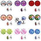 2pc 16G Steel Bar Flower Fake Cheater 8mm Barbell Plug Illusion Ear Stud Earring
