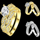 Fashion Women Lady Twinkling Gold/Silver Plated Ring Size 5 6 8 9 Jewelry Gift