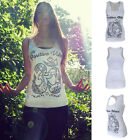 New Women Summer Vest Top Sleeveless Shirt Blouse Sexy White Printed Tank Tops