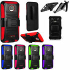 For Motorola Moto Z Force Droid Combo Holster HYBRID KICKSTAND Rubber Case Cover