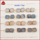 1 Pair Gold Plated Square Natural Agate Titanium Druzy Stud Earring QG0914