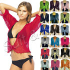 New Women Cropped Stretchy Ladies 3/4 Sleeve Tie Up Front Fine Knit Bolero Shrug