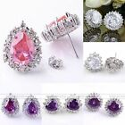2x Nickle Allergy Free CZ Gemstone Round Heart Teardrop Crystal Earring Ear Stud