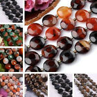 Natural Agate Stone Flat Round Coin Loose Bead Fit Jewelry Making Findings DIY