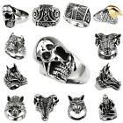 Punk Rock Men's Silver Stainless Steel Gothic Biker Finger Ring Jewelry Animal