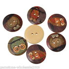Wholesale Lots W09 Wooden Buttons Owl Cartoon Pattern 2-hole Sewing Scrapbook