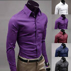 Mens Long Sleeve Shirt Business Work Smart Formal Casual Dress Shirts 6 Colours