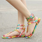 2017 Womens Rivets Rainbow Sandals Fashion Mixed Colors Beach Slippers US5-10.5
