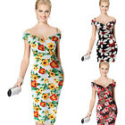 Womens Off Shoulder Floral Flower Print Cocktail Party Evening Dress Plus Size