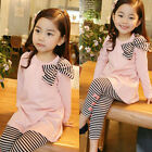 2PCS Toddler Kids Baby Girls Autumn Outfits Clothes T-shirt Tops+ Leggings Pants