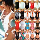 Ladies One Piece Bikini Monokini Push Up Padded Bra Swimsuit Swimwear Bathers FO