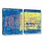 Blue With Stencils by Elena Ray 2 Piece Painting Print on Wrapped Canvas Set