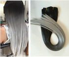 """19""""Black Grey 70% Real Straight Clip in Human Hair Extensions, DIP DYED OMBRE"""