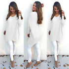 2017 Women Elegant V Neck Long Sleeve Loose Sweaters Lady Casual Tops Blouse K