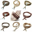 6/8mm Natural Wood Buddha Prayer 108 Ball Bead Multilayer Bracelet Necklace Gift