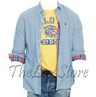 Polo Ralph Lauren Mens Denim Chambray Indigo Stonewashed Pony Logo Shirt Jacket