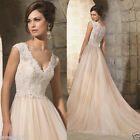 A-line champagne wedding dress tulle & lace cap sleeve bride gown custom size
