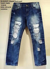 Mens distressed blue denim Jean Pants Ripped Denim Jean Pants 30W-44W #3