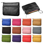 Showy Men Women Card Coin Key Holder Zip Genuine Leather Wallet Pouch Bag Purse