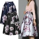 Women Floral Hepburn Skirts Vintage A Line High Waist Midi Gown Pleated Dress