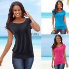 Hot Summer New Womens Short Sleeve T-Shirt Ladies Casual Loose Plain Tops@Blouse