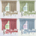 """CLEARANCE SALE Of Maddie Half Panama Floral Kitchen Curtains 3"""" Tape Top Header"""