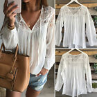 Hot Women Sexy Lace Tops Tee Long Sleeve Shirt Casual Blouse Loose T-shirt White