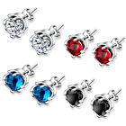 925 Sterling Silver 5mm Classic White/Red/Blue/Black Crystal Stud Post Earrings