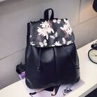 Girl Leather School Bag Travel Backpack Satchel Women Shoulder Rucksack Floral T