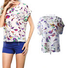 NEW Fashion Women Casual Short Sleeve Printed Chiffon T-shirt Tops Blouse