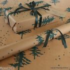 Winter Forest Green Christmas Patterned Kraft Brown Wrapping Paper 5 / 10 metres