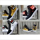 Men's Fashion Leather Casual High Top Lace Up Sneakers Skateboard Trainer Shoes