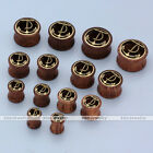 Pair Sono Wood Inlaid Anchor Alloy Ear Tunnels Plugs Stretcher Piercing Gauges
