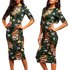 Womens Short Sleeves Printed Shirt  Slim Bodycon Cocktail Party Evening Dress