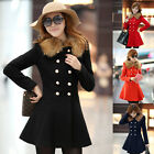 New Winter Womens Slim Fit Double Breasted Trench Coat Long Jackets Tops Outwear