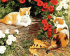 Cats And Beautiful Flowers Needlepoint Canvas