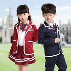 Fashion New Kids Cotton Long Sleeve Red/Navy Blue Students School Class Uniforms