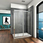 1400 Double Sliding Shower Enclosure Tray Glass Screen Cubicle Panel Anti-glare