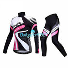 2017 New Women Winter Cycling Bicycle Long Sleeves Jersey&4D Padded Pants Set DS