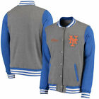 New York Mets Timeless Throwback Varsity Jacket - Heathered Gray Royal - MLB