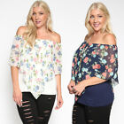 TheMogan Women's Off Shoulder Floral Cape Overlay Top Plus Size Ruffle Blouse