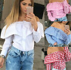New Women Sexy Off Shoulder Long Sleeve Plaid Blouse Stylish Casual Outwear Tops
