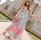 FD4237 Women V neck Flora Lotus Leaf Flowers Bohemia Maxi Long Dress S M L XL ♫