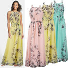 Printed Women's Sexy Sleeveless Off Shoulder Chiffon Skirt Gift Long Dress