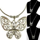 1 Piece Hot Women Ancient Gold Plated Butterfly Tassels Pendant Bib Necklace