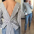 Woman Stripe Backless Fashion Bowknot Jumper Pullover Top Blouse Tee T-Shirt