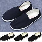 mens boys Old Beijing style casual round toe flat slip on black shoes size 37-45