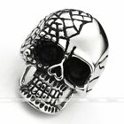 316L Surgical Steel Men's Punk Gothic Cracked Ghost Skull Ring Size 9-13 Punk