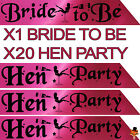 BLACK & PINK HEN NIGHT PARTY DO BRIDE TO BE SASH GIRLS NIGHT NBC